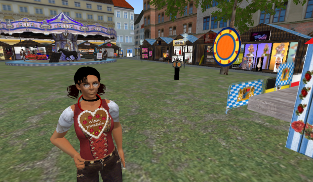 Dora Quar schenkt sich ein Herz auf dem SL-Oktoberfest